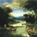 Domenichino, Paesaggio con fiume e barche